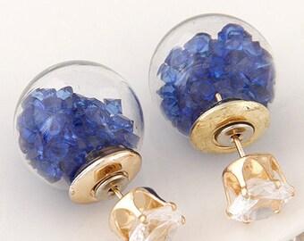 Round Stud Dark Blue Crystal Earrings