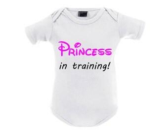 Baby bodysuit baby girl body with print princess in training white pink baby shower gift newborn -  2 years