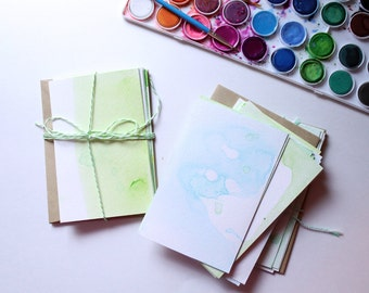 Blue and Green Watercolor Stationery Set