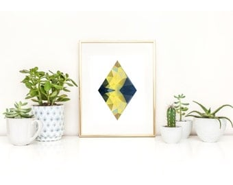 Blue, Yellow, Geometric, Diamond, Kaleidoscope, Shape, Wall Art, Triangles, Hippie, Boho, Minimal, Modern, Art
