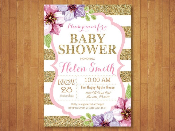 and gold baby shower invitation pink black gold glitter floral baby