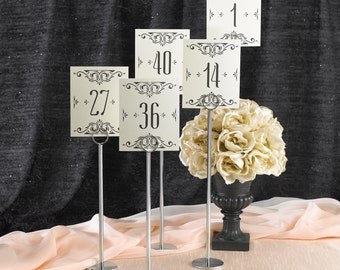 Wedding Reception Table Numbers / Ivory Shimmer Glamour Table Number Cards 1 To 40