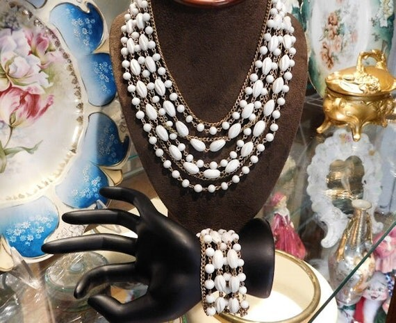 CORO Necklace Bracelet Demi Parure Mid Century Hollywood Vintage Wedding Bride Bridal Jewelry Multi Strand Milk Glass White Molded Plastic