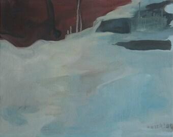 Original Scandinavian snow landscape abstract minimalist oil painting
