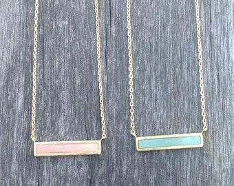 Bar stone charm necklace