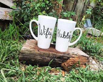 His and Hers...Wifey and Hubby....Couples Mugs...Engaged...Wedding Gifts...Funny Coffee Mugs...Gifts...Bride...Groom
