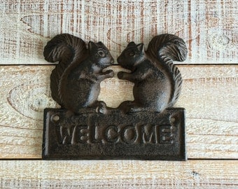 Squirrel , Welcome , Cast Iron Sign