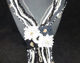 Black and White Abstract Beaded Necklace