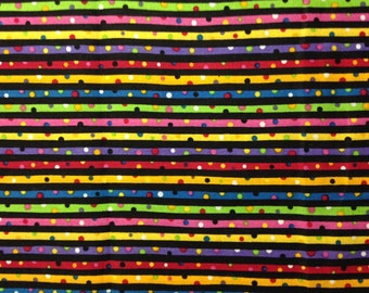 Bright Multi-Color Stripes of Polka Dots, Whimsical, by Fabric Traditions, 100% Cotton