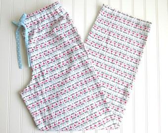 Women's Flannel Pajama Pants - Aqua, Pink, Gray I Woke Up This Way Print - Coordinating Aqua and White Star Drawstring Tie-Elastic Waistband