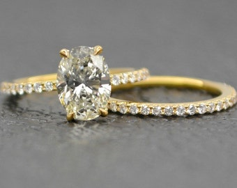 2.00 Ct.Oval Cut Diamond Ring & Wedding Band on 18K Yellow Gold