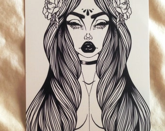 Black and White Horned Goddess Art Print