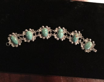 Taxco 980 sterling  & large 6 Turquoise stone link bracelet