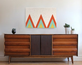 large canvas wall art, teepee art, mid century modern art, triangle art, Scandinavian art, geometric art, geometric wall art, abstract art