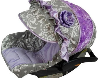 Custom Car Seat Covers, 4 PC Grey Damask Infant Car Seat Cover, Fancy Car Seat Cover, Baby Car Seat Covers, Over the Top