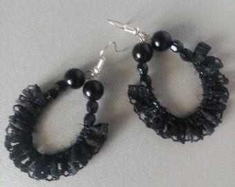 Handmade lace earrings dangle earrings gift for her black lace and beads earrings