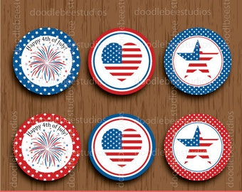4th of July Cupcake Toppers, 4th of July Printables, Independence Day Cupcake Toppers, 4th of July Tags, 4th of July Labels