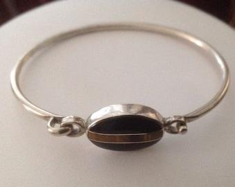 Vintage CII Mexico Sterling Silver Black Onyx & Tiger's Eye Bracelet