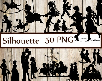 "Vintage Silhouettes Clipart: ""SILHOUETTES CLIP ART"" Couple Silhouettes Children silhouettes Wedding silhouettes  Party Silhouettes Clip Art"