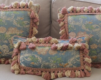 Beautiful Vintage Silk Lampas Fringed Pillows
