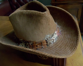 Vintage  Resistol Self-Conforming Western Cowboy Men Hat Size 7 1/2, Brown Corduroy Classy Feather Hatband Made in Texas USA Men Hat, 1970s'