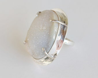 Sterling Silver White Drusy Ring