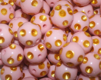 Pink and Gold Polka Dot 20mm Beads 10 Count