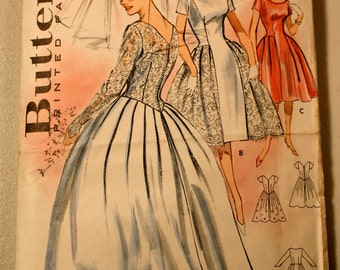 Vintage 1950's/1960's uncut Butterick wedding dress pattern 9337 misses bridal dress gown size 12 bust 32  bride bridesmaid