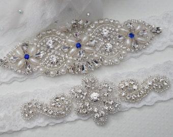 Blue Wedding Garter Set, Wedding Garter, Bridal Garter set, Rhinestone Garter, Something Blue