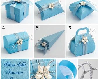 Blue Favour Boxes - Baby Blue favour boxes - Light blue favour cone