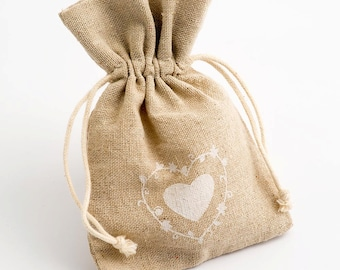 10 Hessian Favour Bags. Rustic Heart Design Sack with Drawstring