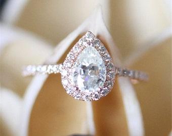 Forever Brilliant Moissanite Ring,FB 5*8mm Pear Moissanite Engagement Ring,Halo Diamonds,Half Eternity Pave Diamonds Ring,14K Rose Gold Ring