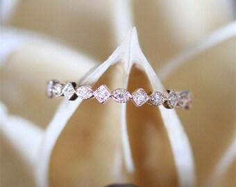 Art Deco Diamond Wedding Band,Half Eternity Pave Diamonds Wedding Ring,Milgrain Bezel,Dainty Diamond Ring 14K Rose Gold Ring,Match Ring