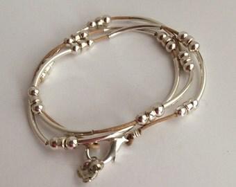 Sterling Crescent Bracelet - Leather Wrap Bracelet - Tan - Cuff - Leather Jewelry - Heart Charm - Leather Bracelet - Birthday = Free Ship