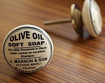 Black and White Olive Oil Soft Soap Ceramic Round Knob/Drawer Pull