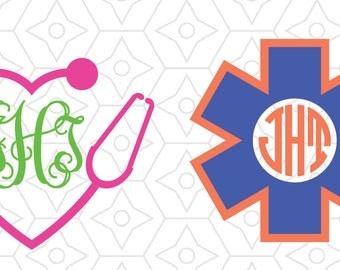 Medical Monogram Frame Decal Collection, SVG, DXF and AI vector files, for use with Silhouette and Cricut vinyl cutting machines