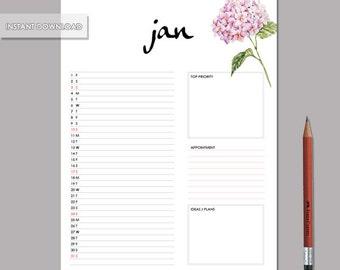 2016 Monthly Planner, Monthly Planner, Monthly calendar, Digital download, Desk calendar, Desk planner, Minimal Design