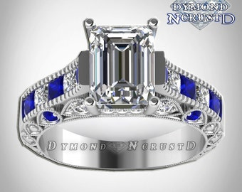 doctor who inspired tardis blue sapphire swarovski diamond sterling silver or white gold deluxe ring - Dr Who Wedding Ring