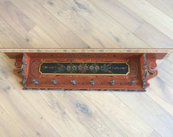 Handpainted coat rack in old dutch decoration style