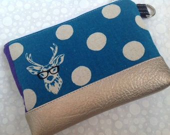 Echino Stag Clutch with Faux Leather