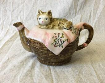Vintage Cat Resting in a Basket Teapot on Pink Floral Blanket, Novelty Cat Teapot, Kitsch Teapot