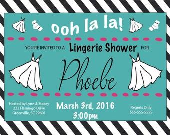 Lingerie Shower, ooh la la, black & white stripe, nighty, bridal shower