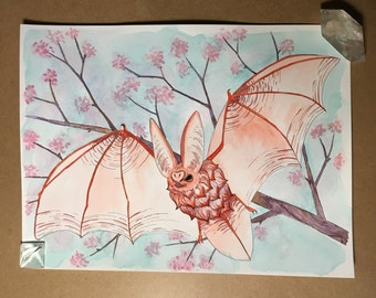 cherry bat - watercolor original