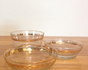 Set of 3 Vintage Gold Rimmed Bowls