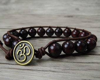 wrap bracelet mens bead bracelet Leather wrap bracelet gemstone yoga bracelet gypsy beaded bracelet natural stone bracelet jewelry SL-0173