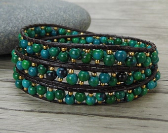 Green wrap bracelet 3 wrap bracelet leather wrap bacelet stack bead bracelet Yoga bead bracelet bead leather bracelet bead Jewelry SL-0424