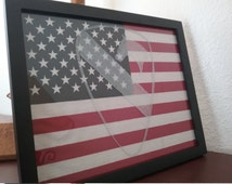 Framed American Flag with 1st Cavalry Emblem