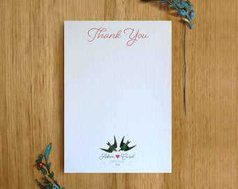 Printable Thank You Personalised Stationary. Love Bird Wedding Stationary Suite.