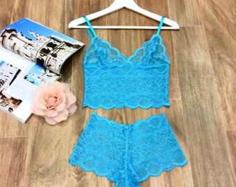 Blue Lace Lingerie Set / Long Line Bralette and Panties by Silk Brides/Honeymoon Lingerie