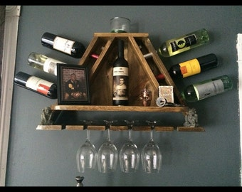 Handmade Triangle Wine Rack with Center Shelf